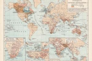 Mappa dello sviluppo territoriale dell'impero britannico dal XVII secolo alla fine del XIX secolo