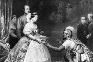 Regina Vittoria, della Gran Bretagna dal 1837 e imperatrice dell'India dal 1876, riceve un dono da un emissario africano