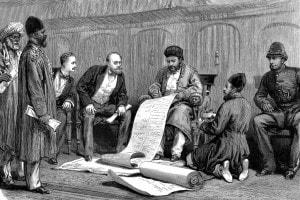 Yaqub Khan, sovrano afghano, e Louis Cavagnari, negoziatore britannico, firmano il trattato di Gandamak, 26 maggio 1879
