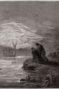Dante si inchina all'arrivo dell'angelo nocchiero
