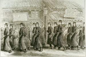 Poliziotti di Yedo in partenza per Satsuma. Gerra civile in Giappone, 1877