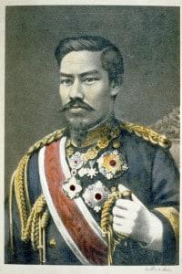 Mutsuhito, imperatore Meiji (1852-1912). Durante il suo regno il Giappone subì grandi cambiamenti politici, sociali e industriali e divenne una potenza mondiale. Ritratto in uniforme militare