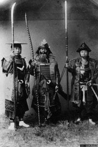 Gruppo di guerrieri samurai giapponesi, 1880 circa
