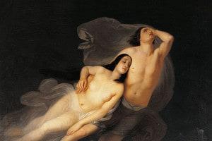 Paolo e Francesca, protagonisti del canto V dell'Inferno di Dante