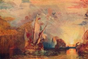 Ulisse deride Polifemo allontanandosi con le navi
