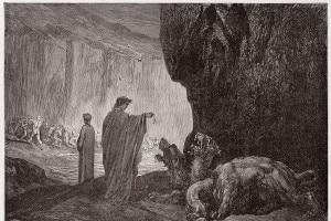 Cerbero nell'Inferno: Virgilio sfama il mostro