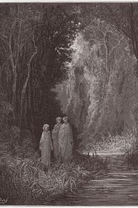 Dante, Virgilio e Stazio nella foresta del Paradiso terrestre