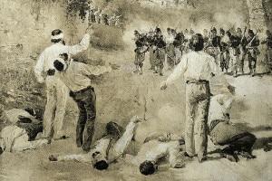 I fratelli Attilio ed Emilio Bandiera, patrioti italiani, durante la sparatoria nella valle di Rovito, 25 luglio 1844