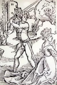 L'esecuzione di Anna Göldi, l'ultima donna giustiziata per stregoneria. Illustrazione esposta all'Anna Göldi Museum Glarus, Svizzera