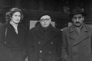 Da destra a sinistra: Ignazio Silone, Pietro Nenni e Dariana Laracy