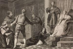 La figlia di un ebreo accusata di stregoneria nel Medioevo, incisione da un dipinto di John Evan Hodgson