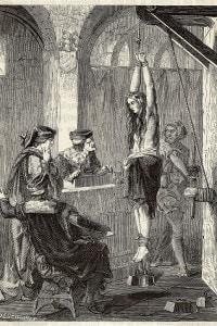 La tortura di una donna accusata di stregoneria durante il medioevo