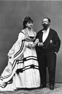 Vittorio Emanuele II di Savoia (1820-1878) con la moglie morganatica Rosa Vercellana, detta Bella Rosina o Bela Rosin (1833-1885)