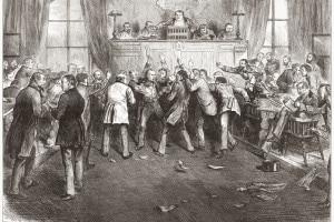 """Il panico del 1873: scena alla borsa di San Francisco. L'incidente del 1873 ha innescato quella che oggi è conosciuta come la """"lunga depressione"""""""
