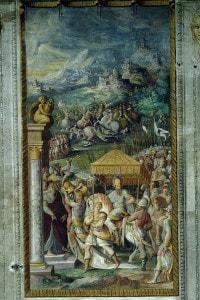 Il trionfo del ghibellino Ugolino Rossi dopo la battaglia di Campaldino in Toscana, 1289. Affresco, Sala delle gesta dei Rossi, Rocca dei Rossi. Emilia-Romagna