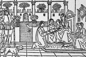 """Xilografia raffigurante Masuccio Salernitano (1410-1475) che presenta il suo """"Novellino"""" ad una nobildonna"""