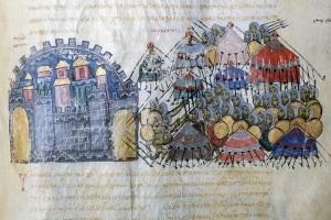 Miniatura che raffigura i musulmani che assediano la città bizantina di Messina in Sicilia