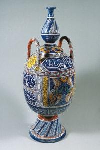 Portalampada in ceramica con decoro in stile arabo