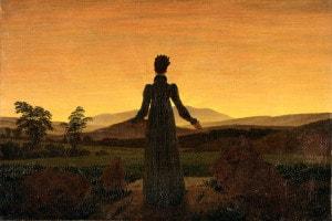 Una donna al tramonto del sole di Friedrich