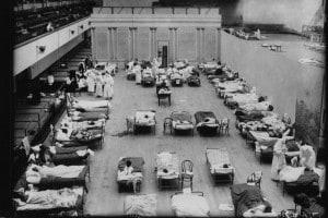 Durante la pandemia di influenza spagnola l'Oakland Civic Auditorium fu trasformato in un ospedale per assistere i malati, 1918