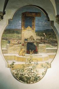 Irnerio: giurista, accademico e glossatore medievale. Affresco staccato, medioevo, Italia XI-XII secolo