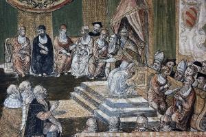"""Proclamazione della """"Legge contro i Turchi"""" da parte del papa san Pio V (nato Antonio Ghislieri, 1504-1572) dopo la vittoria di Lepanto (1571)"""