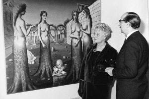 Londra, Tate Gallery: Peggy Guggenheim e il direttore Norman Reid. Dicembre, 1964