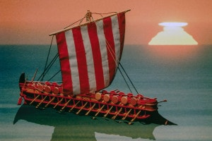 Modello di nave di una bireme, civiltà fenicia