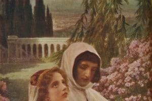 Dante e Beatrice in un giardino