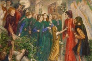 Dante e Beatrice in una stampa di  Gabriel Rossetti