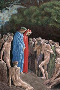 Canto 24 del Purgatorio di Dante che si trova con Virgilio nel girone dei golosi. Stampa di Gustavo Doré.