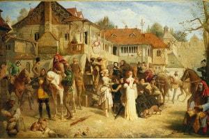 Gruppo di pellegrini ne I racconti di Canterbury