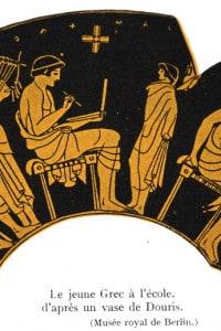 Decorazione su ceramica raffigurante un giovane greco a scuola. V secolo a.C.