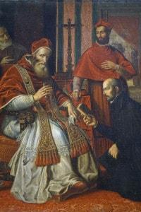 Papa Paolo III riceve da Sant'Ignazio di Loyola la Regola dei Gesuiti