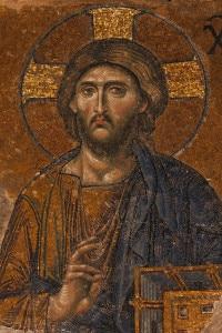 Mosaico bizantino del XIII secolo di Gesù Cristo. Tempio di Hagia Sophia a Istanbul, Turchia
