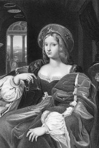 Regina spagnola di Castiglia e di Aragona, Giovanna la Pazza (1479-1555), circa 1505. Da un'incisione originale di A.H. Payne dopo un dipinto di Raffaello