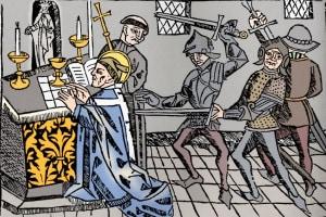 Martirio di Thomas Becket, 1484. Arcivescovo di Canterbury
