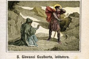 San Giovanni Gualberto (985 o 995 -1073). Incisione colorata da Diodoro Rahoult, Italia 1886