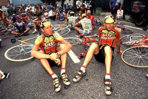 Protesta dei ciclisti durante il Tour de France 1998