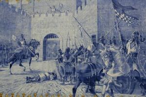 L'assedio del castello medievale di Torres Novas in Portogallo