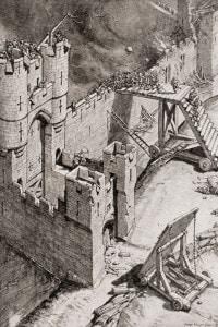 Assedio di un castello nel XIV secolo. Un combattimento corpo a corpo su una scala scagliata contro i bastioni mentre la guarnigione lancia pietre da una catapulta
