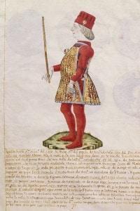Borso d'Este, duca di Ferrara. Miniatura da un manoscritto medievale. Italia, XV secolo