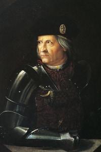 Ritratto di Ercole I d'Este (1431-1505), duca di Ferrara. Dipinto di Dosso Dossi. Modena, Galleria Estense
