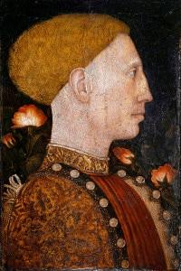 Ritratto di Leonello d'Este (1407-1450): marchese di Ferrara e duca di Modena. Dipinto di Antonio Pisano