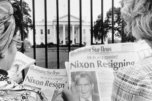 I giornali dell'epoca riportano la notizia delle dimissioni di Nixon