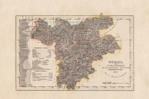 Vecchia mappa del Tirolo