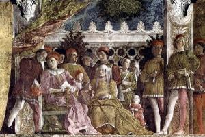 Affresco di Andrea Mantegna, la Camera degli sposi. Palazzo Ducale a Mantova. A sinistra: Ludovico II Gonzaga