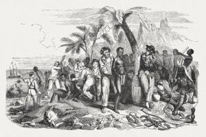 Mercato degli schiavi sulla costa africana