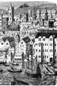Porto tedesco di Stapelhof a Londra. Steelyard era la principale base commerciale della Lega Anseatica a Londra durante il XV e il XVI secolo