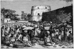 Scena del mercato di Sofala, 1505. Sofala era il principale porto marittimo del Regno Monomotapa, nell'attuale Mozambico